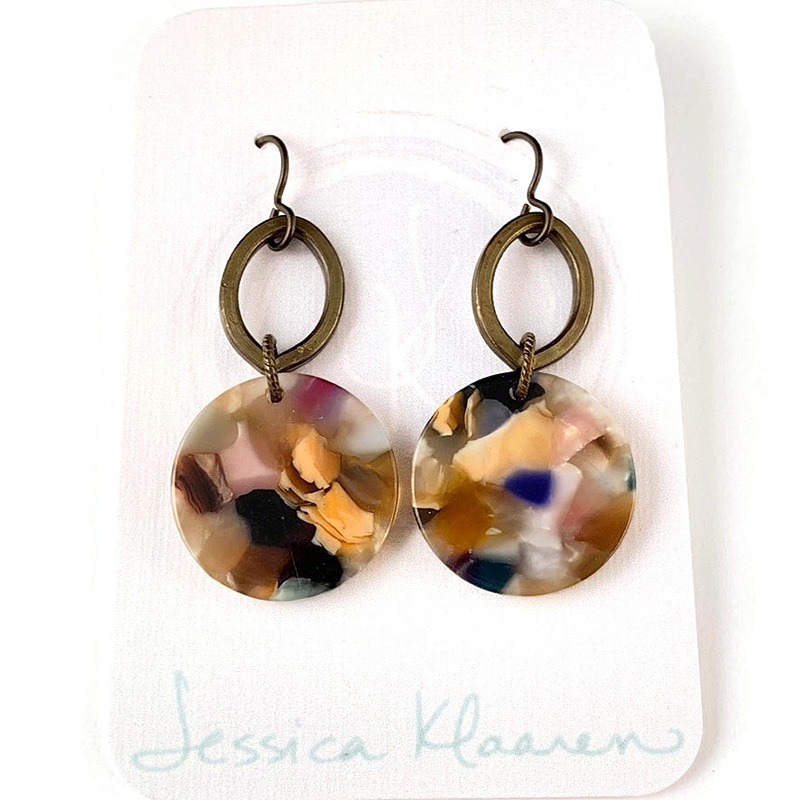 acetate light round brass earring