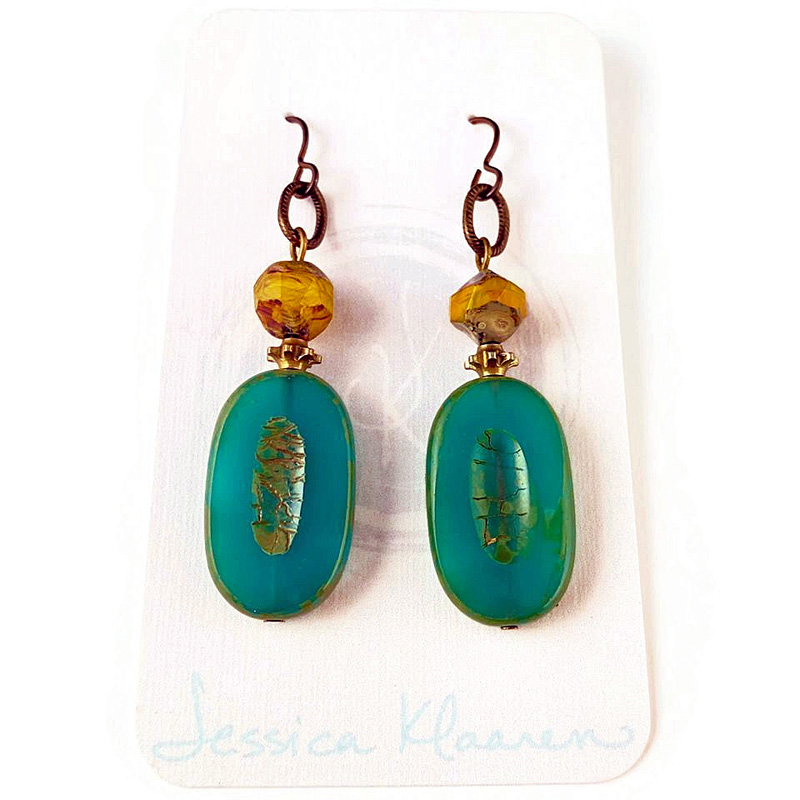 czech yellow and teal earrings2