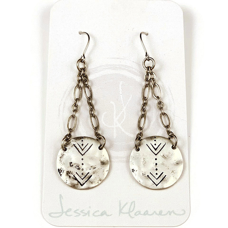 stamped tribal silver disc earring