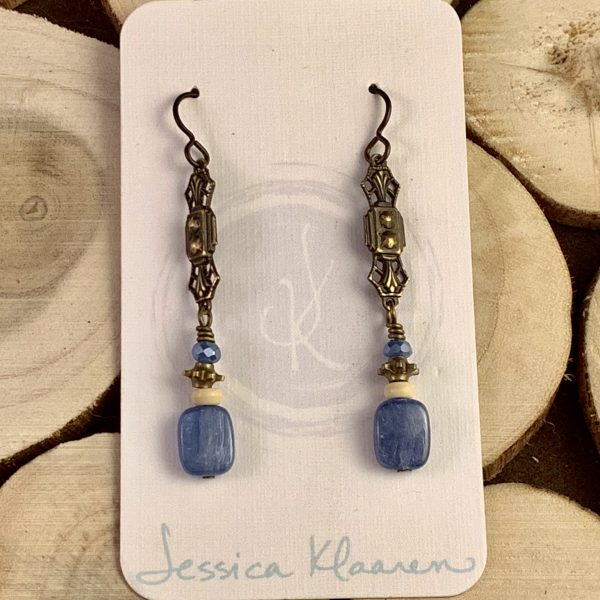 blue kyanite earrings main view