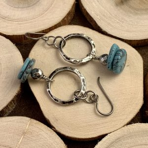 Turquoise and Hematite earrings wood view one