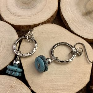 Turquoise and Hematite earrings wood view two