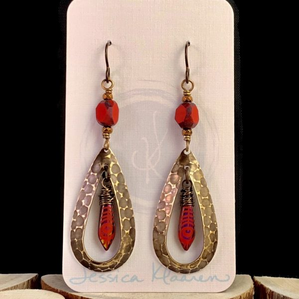 hammered brass teardrop earrings red czech glass main view