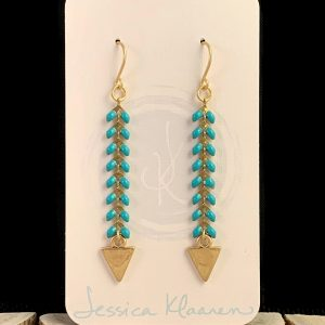 green chevron gold triangle earrings main view