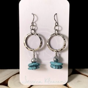 Turquoise and Hematite earrings main view