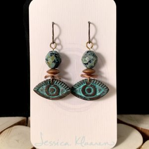 Rustic evil eye earrings