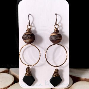 Tibet Agate recycled glass earrings