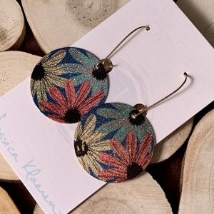 wildflowers etched printed earrings side angle