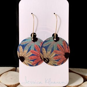 wildflowers etched printed earrings