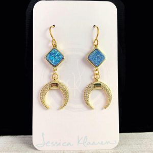 druzy gold crescent earrings