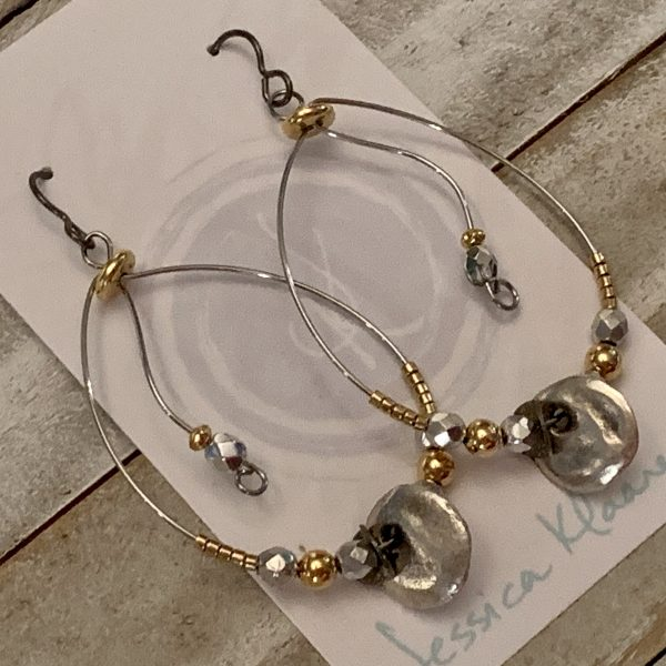 wire hoops gold and silver