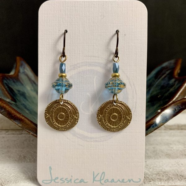 brass coin Czech glass earrings