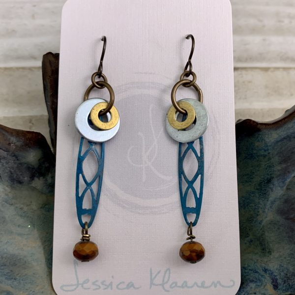 colorful component dangle earrings