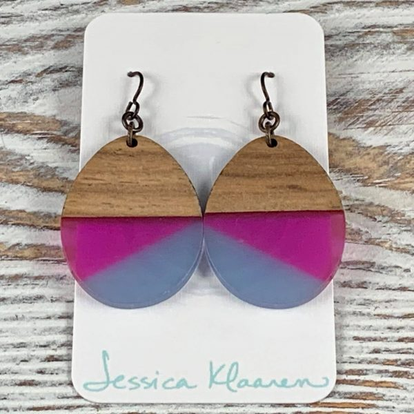 pink periwinkle walnut wood earrings