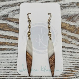Walnut Wood Marble Resin Spike Earrings