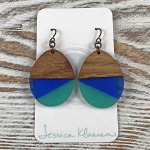 Wood Resin Blue Green Teardrop Earring