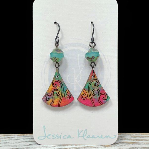 wood swirls and czech glass earrings
