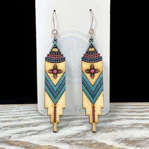 Moroccan wood earrings teal