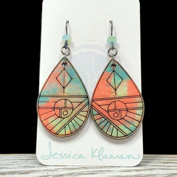 watercolor geometric teardrop earrings