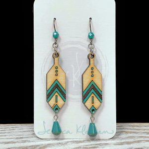 painted wood feather czech glass earrings