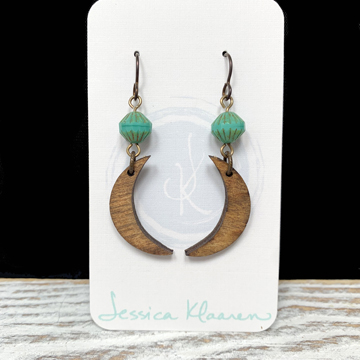 painted wood crescent moon earrings