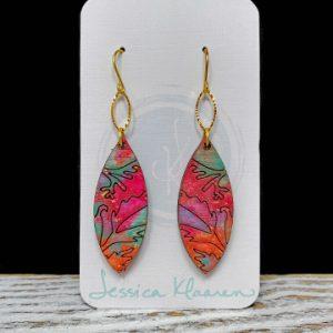 Hand painted wood floral navette earrings